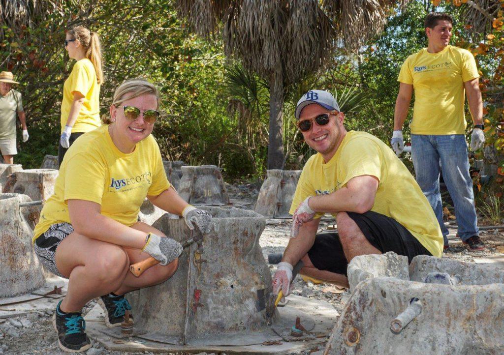 image: rays volunteers building oyster reef balls
