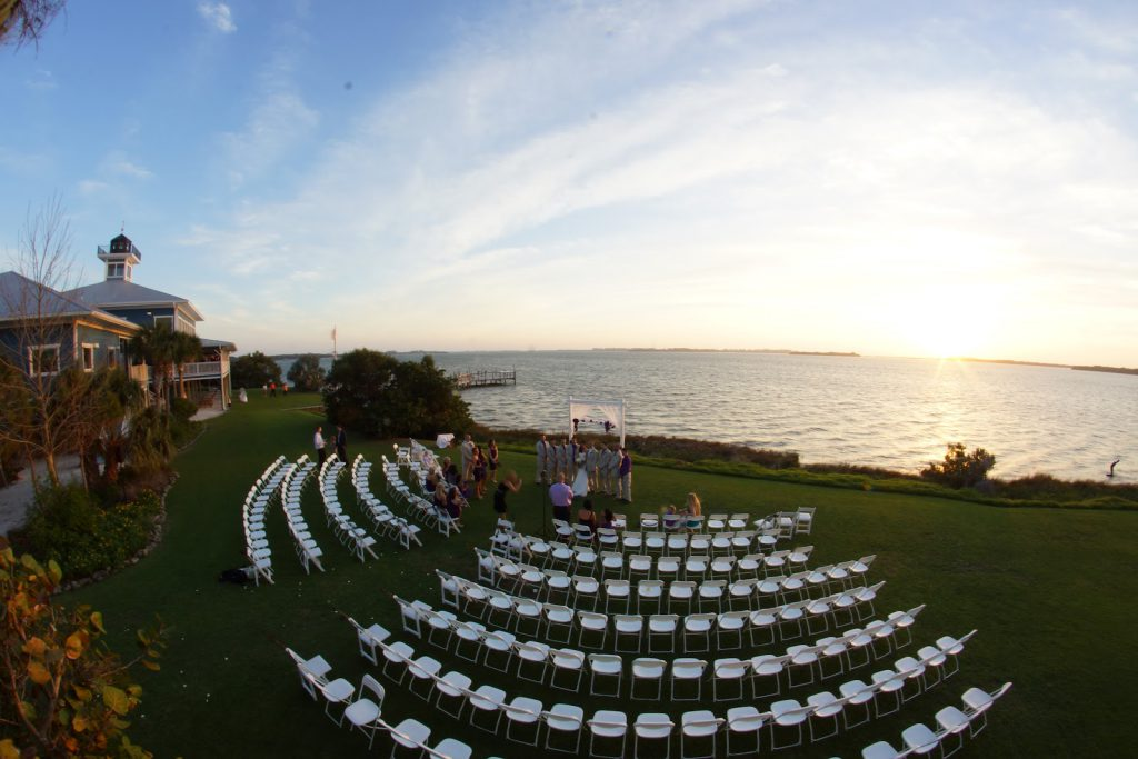 image: wedding setup on lawn at TBW